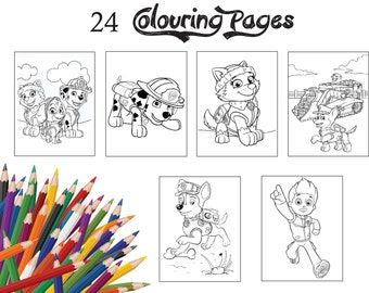 24 assorted children colouring pagescolouring book activity party book of paw patrol - Paw Patrol Coloring Book