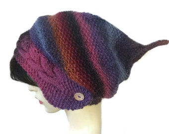 Purples Luxury Silk mix Slouchy beanie hat for women slouch beanie knitted hat winter hat wool beany, pixie hat, festival hat, elven  beanie