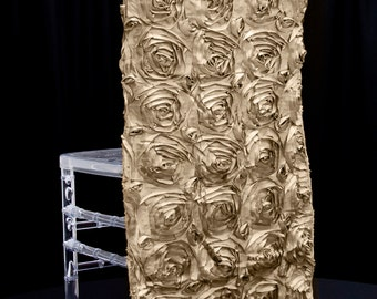 Chair Cap Champagne Satin Ribbon Rosette | Wedding Decorations