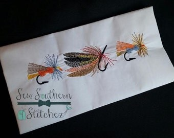 Fishing Lure Trio Embroidery Design ~  Instant Download ~ Vintage ~ Sketch ~ Bean ~ Heirloom Stitch