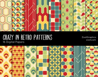 "SALE 50% Crazy In Retro Patterns, 16 Digital Papers 12""x12"", Photoshop Pattern File PAT Included, Seamless, Commercial Use, Instant DOWNLOAD"