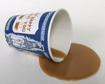 Fake food spilled greek ny coffee cup