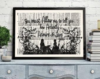 Pride and Prejudice Print, Book Quote Print, Jane Austen, Pride and Prejudice Wall Art, Mr Darcy Quote, 109