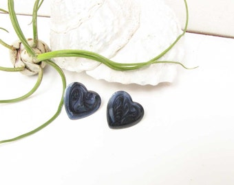 Vintage Dark Purple Blue Pierced Heart Earrings