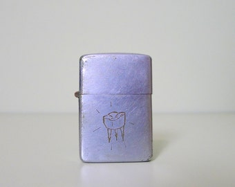 Early Vintage Zippo Lighter with Etched Molar Tooth Design, Extremely Unique, Post War, Mid Century