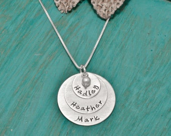 3 disc Hand stamped mothers necklace | hand stamped | mothers necklace with names | Sterling silver