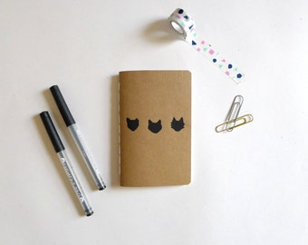 Cat Jotter Notebook / Witchy Pocket Journal / Plain or Graph Paper