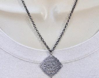 Antique Silver Filigree Pendant Necklace