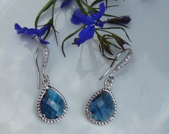 silver plated 925 Silver earrings, azure, with sparkly stones!