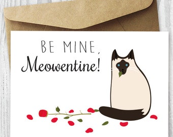 Printable Valentines Day Card, Cat Valentineu0027s Day Card Download, Funny  Siamese Cat Valentine Card