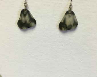 Cloudy glass earrings with black/brown splotches