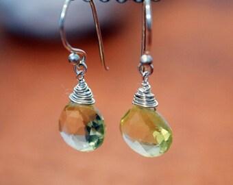 Sterling Silver Wire Wrapped Lemon Quartz Briolette Earrings - Solana Jewelry
