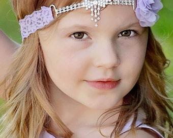 Lavender Flower Girl Headband, Lavender Lace Headband, Rhinestone Headband, Lavender Wedding, Prom Headband, Light Purple, Teen, Adult