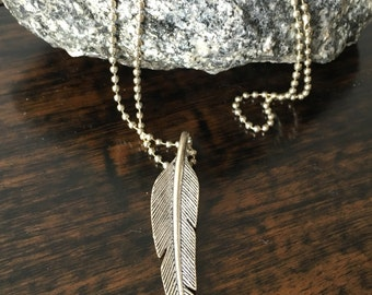 Feather Necklace/Layering Necklace/Multi Strand Necklace/Sterling Silver Necklace/