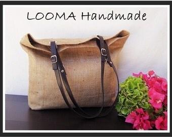 Jute jute Jute bag handbag tote bag Burlap bag Shopping bag Leather handles Handmade in Italy's Beach bag