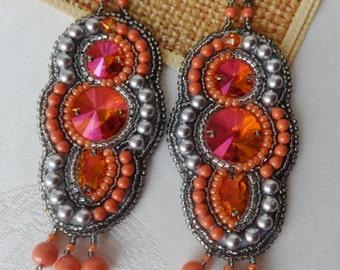 Orange Bright Earrings Beadwork Earrings Bead Embroidery Earrings Long Dangle Earrings Statement Earrings Gift for her Gift for wife