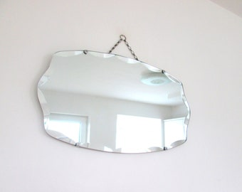 Fantastic Vintage Wall Hanging Scalloped Frameless Bevelled Chained 1940s Old Thick Glass 65.5cm Wide  Mirror