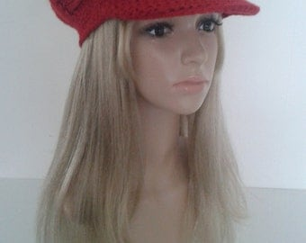 Red Newsboy Cap with Visor Newsboy Hat Newsboy beanie Crochet Newsboycap for woman.