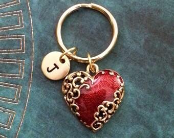 Red Heart Keychain SMALL Gold Heart Keyring Girlfriend Keychain Valentine's Day Keychain Filigree Heart Ornamental Heart Bridesmaid Keychain