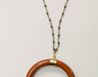 Half Crescent Horn on Pyrite Beaded Chain