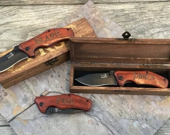 Groomsmen Engraved Knives Gift Idea, Pocket Knife and Gift Box, Spring assisted opening, Best Man Wedding Thank you, Unique present for men
