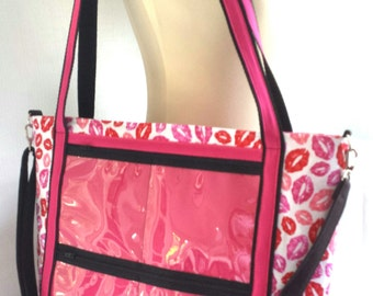 lips fabric custom consultant display tote bag. .direct sales rep clear window advertise your business bag..catalogue display bag