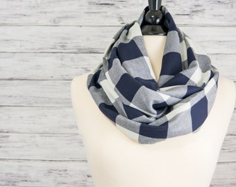 Navy Gingham Scarf- Winter Scarf- Infinity Scarf- Plaid Infinity Scarf- Valentines Day Gift for Her- Infinity Scarf Flannel-  Loop Scarf