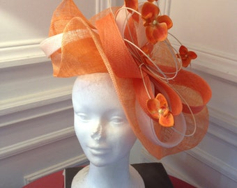 Hat wedding orange and beige