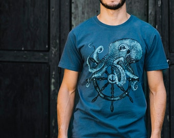 OCTOPUS shirt - mens t shirt - boyfriend tshirt - octopus t-shirt - Sailor tattoo print - kraken shirt - steampunk clothing - octopus art