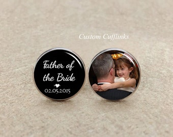 Father of the bride Cufflinks, personalized cufflinks, Custom picture/photo Cufflinks, silver Cuff links, father of the bride cuff links