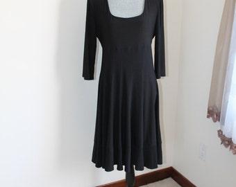 Vintage 1990s Black Dress by Joseph RibKoff Size 14 Full Skirt Banded Hemline Spandex Empire Waist