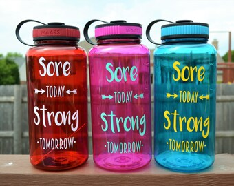 Sore Today Strong Tomorrow // Water Tacker Bottle // Large 34oz Water Bottle // Time Tracker // Gym Bottle // Fitness Gift