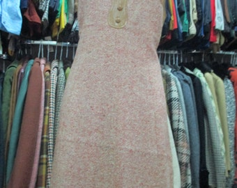 Scamiciata in tweed anni 60/ ruggine e finta pelle/ 1960's sleeveless tweed dress and faux leather/A-line dress/Fully lined/Size 12 US/M