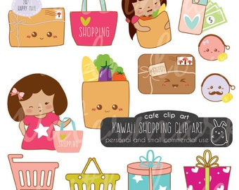 Kawaii Shopping Clipart/grocery clipart/money clipart/mail clipart/Instant Download - Commercial Use Clipart/Kawaii Planner Clipart
