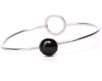 Boho Dainty Bangle Black Onyx Gemstone Bracelet Adjustable Gift Boxed + Giftbag + Free UK Delivery WBB12