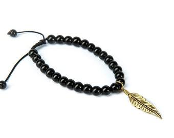 Black Onyx Gemstone Bracelet Feather Charm Macrame Adjustable Wrap Bracelet Charm Bracelet Unisex + Giftbag + Free UK Delivery