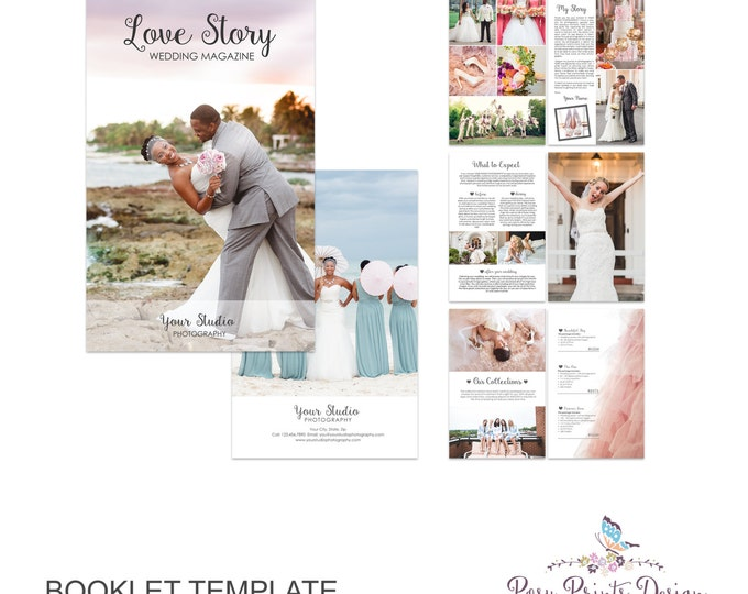 Wedding Magazine Template for Photographers - 8 Page Studio Welcome Guide - Photography Digital Booklet  - PSD - INSTANT DOWNLOAD - Wm01