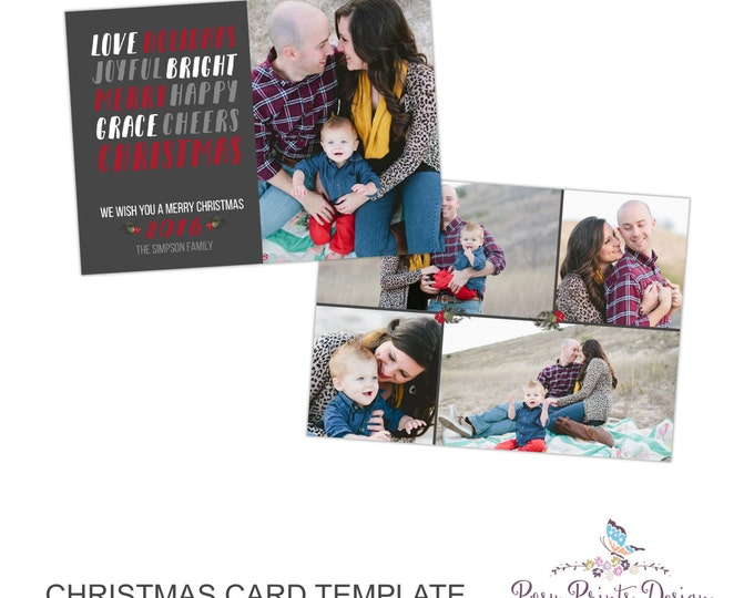 Christmas Card Photoshop Template - 5x7 Photo Card - INSTANT DOWNLOAD or Printable - CC46