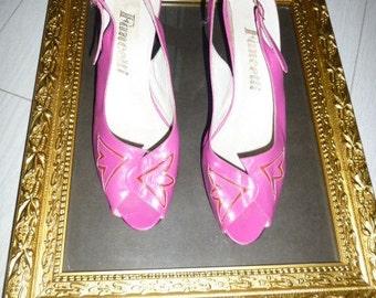80's Hot Pink Sling-back Shoes size 39/6UK/8USA