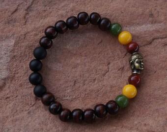 Buddha Rasta Bracelet, Reggae Bracelet, Healing Gemstone Bracelet, Buddha Pendant, Buddha Charm, Rasta Colors, Rasta Jewelry Energy Bracelet