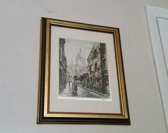Vintage 1950's Hans Figura Pencil Signed Etching Mid Century Listed Austrian Artist Aquatint Nicely Framed City Scene