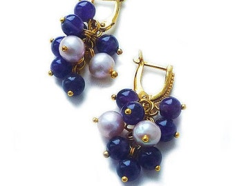 """Earrings with amethyst and pearls """"CONSTELLATION"""""""