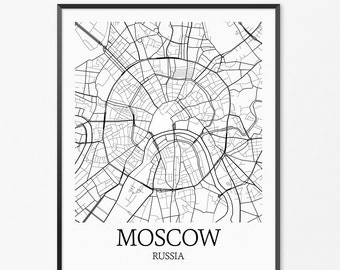 Moscow Map Art Print, Moscow Poster Map of Moscow Decor, Moscow Map Art, Moscow Gift, Moscow Russia Art Poster