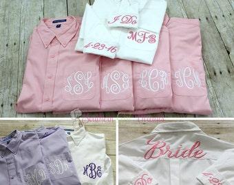 Monogrammed Bridesmaid Shirt, Bridesmaid Button Down Shirts, Bridesmaid Gift, Bridesmaid Getting Ready Shirt, Bridal Party Shirts