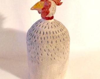 Rooster (lg.),chicken,folk art,animal,bird,art,artisan,clay,ceramic,collectible,whimsical,,handmade,sculpture,farm animal,barnyard