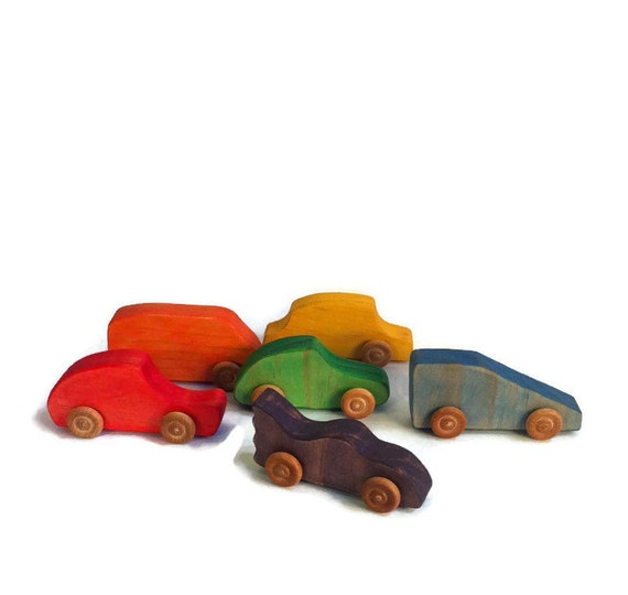 Wooden Toy Push Car Set Of 6 // Waldorf & By TRexAndTadpole