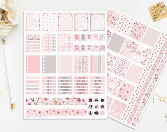 Cherry Blossom Printable Planner Stickers Digital Planners Instant Download Cute Pastel Pink Blush Spring Romantic Wedding Planner Print Cut