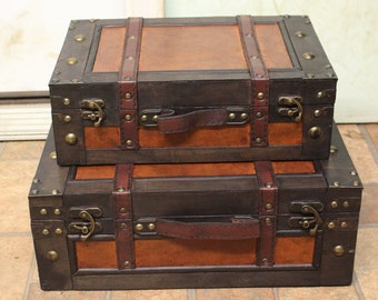 Handcrafted Wood Decorative Suitcase