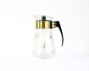 Vintage MidCentury Modern Corning Ware Atomic Starburst Gold Glass Coffee Pot