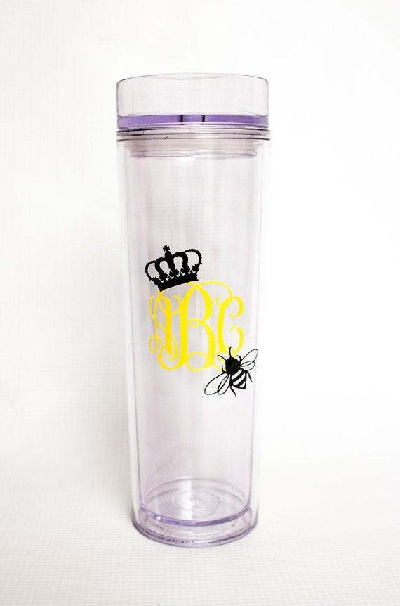 Queen Bee Monogrammed Tumbler,double-wall acrylic tumbler,tall skinny cup, travel mug, personalized, vine monogram, crown, honey bee, comb
